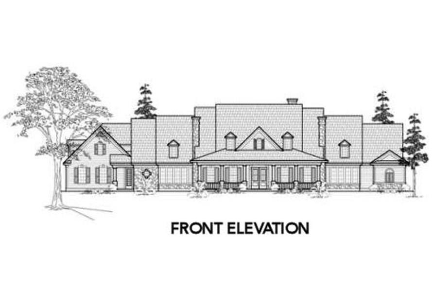 Home Plan Front Elevation of this 4-Bedroom,5052 Sq Ft Plan -134-1312