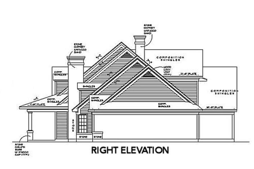 Home Plan Right Elevation of this 4-Bedroom,5052 Sq Ft Plan -134-1312