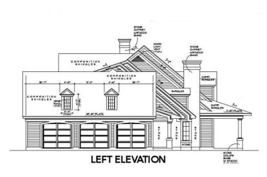 Home Plan Left Elevation of this 4-Bedroom,5052 Sq Ft Plan -134-1312