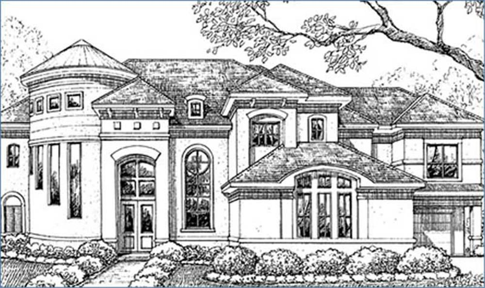 Luxury homeplans front rendering.