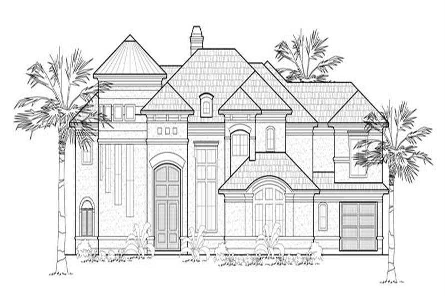 Home Plan Front Elevation of this 5-Bedroom,5403 Sq Ft Plan -134-1317