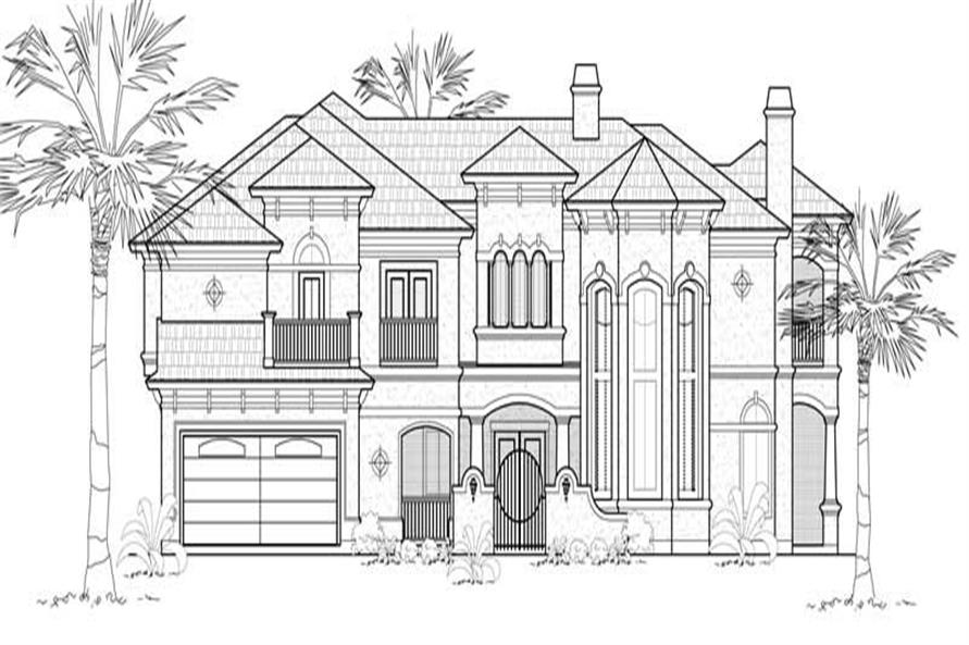 4-Bedroom, 4507 Sq Ft Mediterranean House Plan - 134-1321 - Front Exterior