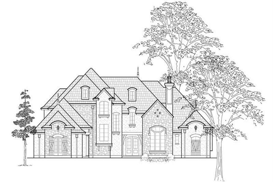 Home Plan Front Elevation of this 4-Bedroom,4577 Sq Ft Plan -134-1322