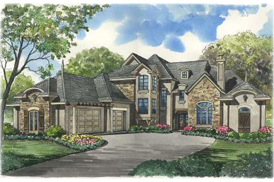 4-Bedroom, 4577 Sq Ft European Home Plan - 134-1322 - Main Exterior