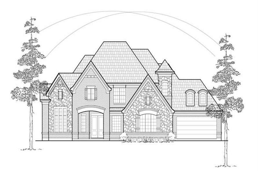 Home Plan Front Elevation of this 4-Bedroom,4814 Sq Ft Plan -134-1324