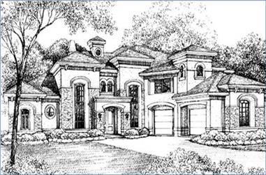 5-Bedroom, 5415 Sq Ft Mediterranean Home Plan - 134-1328 - Main Exterior