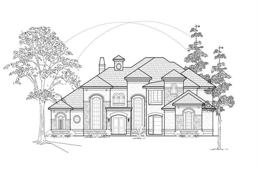 Home Plan Front Elevation of this 5-Bedroom,5415 Sq Ft Plan -134-1328
