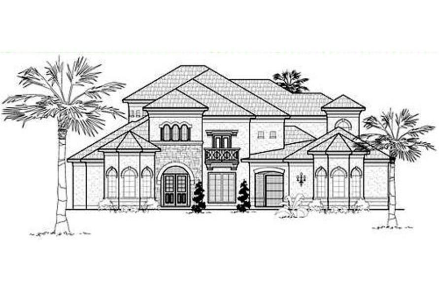 Home Plan Front Elevation of this 5-Bedroom,5502 Sq Ft Plan -134-1329