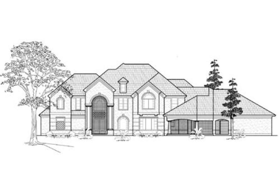 Home Plan Front Elevation of this 4-Bedroom,4894 Sq Ft Plan -134-1335