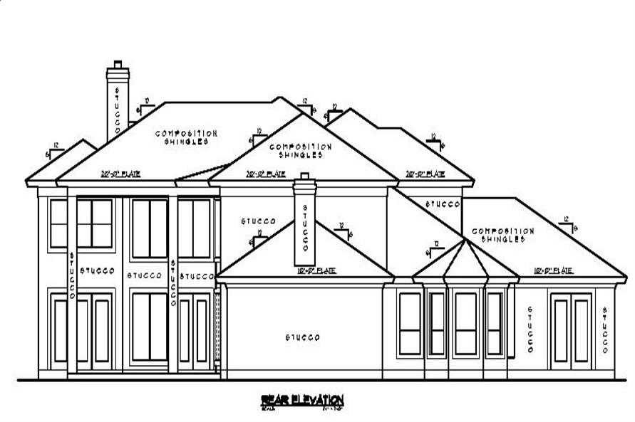 Home Plan Rear Elevation of this 5-Bedroom,4434 Sq Ft Plan -134-1339