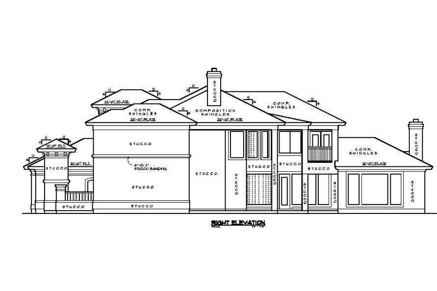 Home Plan Right Elevation of this 5-Bedroom,4434 Sq Ft Plan -134-1339