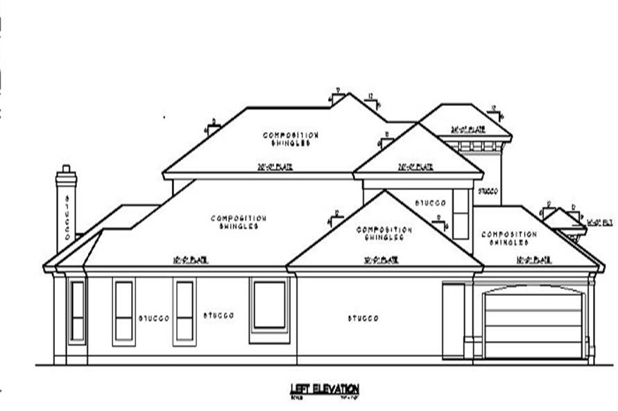 Home Plan Left Elevation of this 5-Bedroom,4434 Sq Ft Plan -134-1339