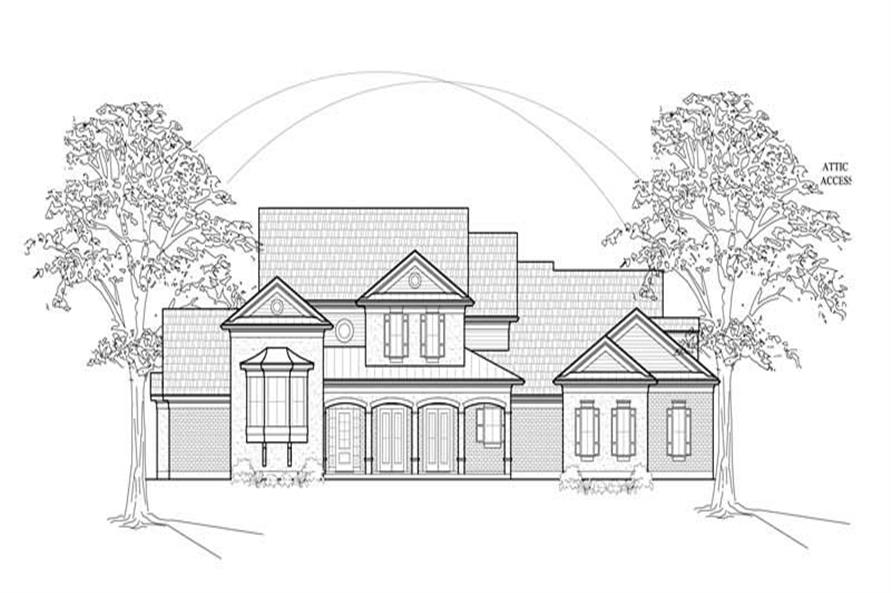 Home Plan Front Elevation of this 4-Bedroom,4323 Sq Ft Plan -134-1344