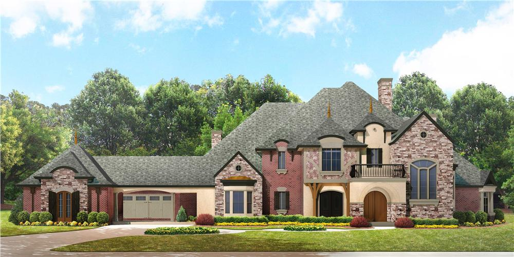 Luxury house plans photo-realistic front exterior.