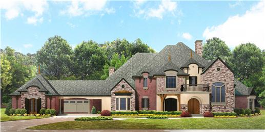 Luxury house plans front rendering.