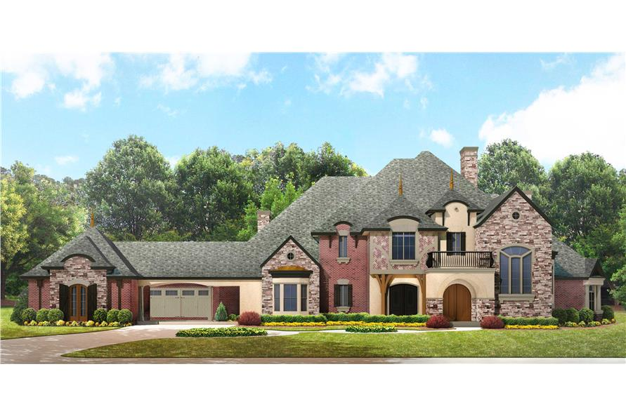 delightful european luxury house plans #10: #134-1350 · Luxury house plans photo-realistic front exterior.