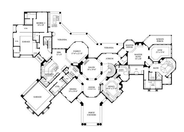 Luxury home plans mediterranean home design 8768 for Small luxury floor plans