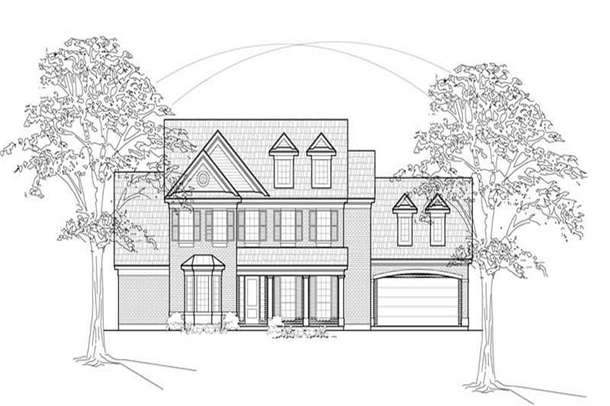 Home Plan Front Elevation of this 4-Bedroom,3804 Sq Ft Plan -134-1356