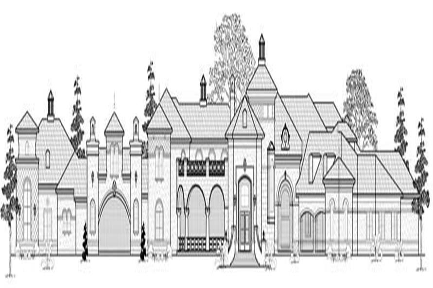 Home Plan Front Elevation of this 6-Bedroom,9166 Sq Ft Plan -134-1365