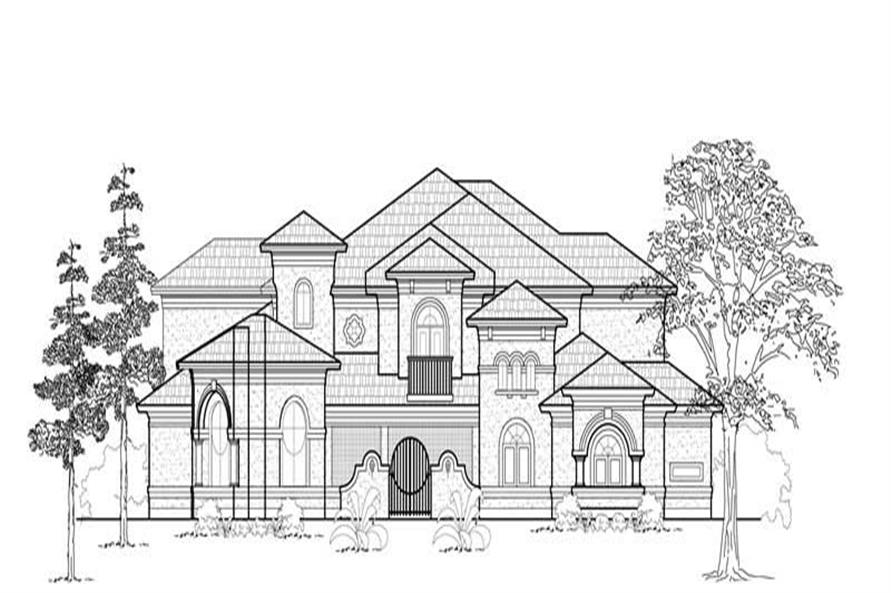 Home Plan Front Elevation of this 4-Bedroom,4932 Sq Ft Plan -134-1373