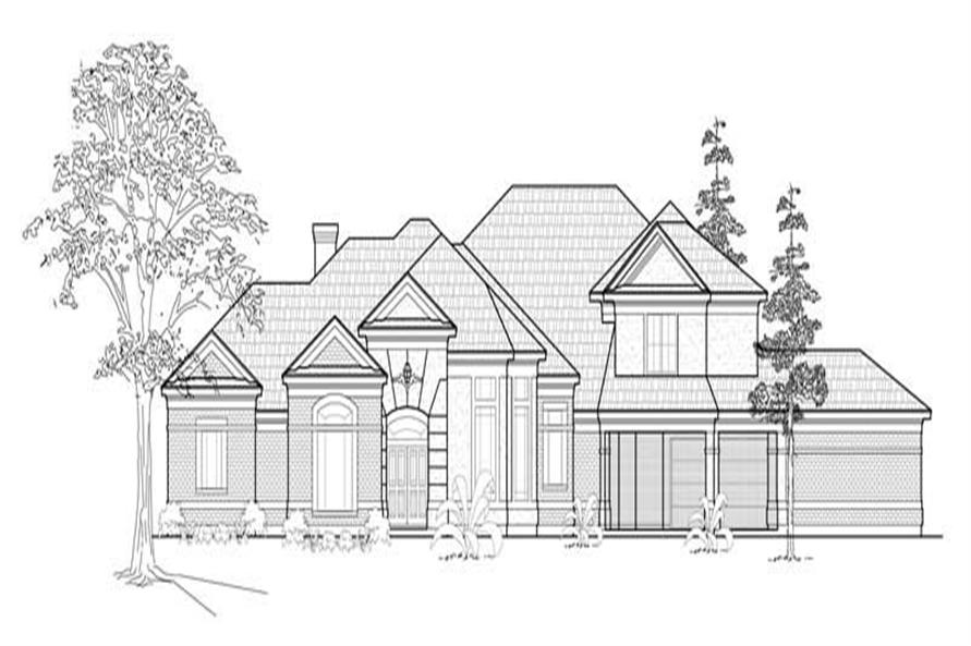 4-Bedroom, 3908 Sq Ft European House Plan - 134-1381 - Front Exterior