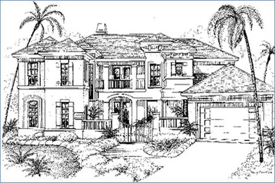 1-Bedroom, 3852 Sq Ft Mediterranean House Plan - 134-1386 - Front Exterior
