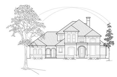 4-Bedroom, 4117 Sq Ft Luxury House Plan - 134-1388 - Front Exterior
