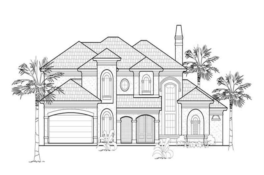 Home Plan Front Elevation of this 4-Bedroom,3887 Sq Ft Plan -134-1398