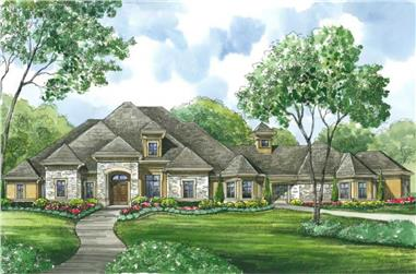4-Bedroom, 3929 Sq Ft European House Plan - 134-1400 - Front Exterior