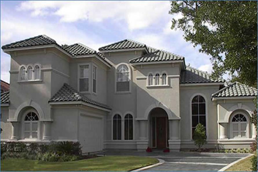 4-Bedroom, 3868 Sq Ft Mediterranean House Plan - 134-1401 - Front Exterior