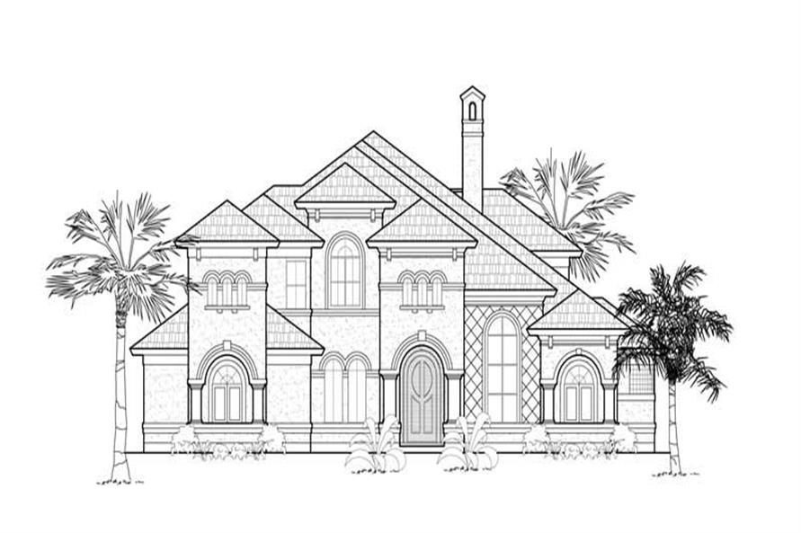 Home Plan Front Elevation of this 4-Bedroom,3868 Sq Ft Plan -134-1401