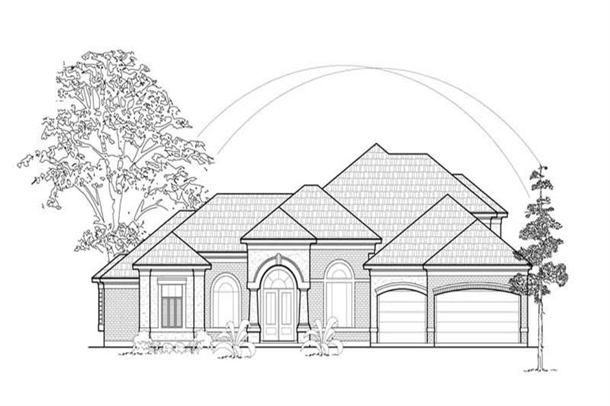 4-Bedroom, 3858 Sq Ft Luxury House Plan - 134-1413 - Front Exterior