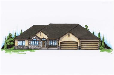 5-Bedroom, 3092 Sq Ft Ranch Home Plan - 135-1000 - Main Exterior