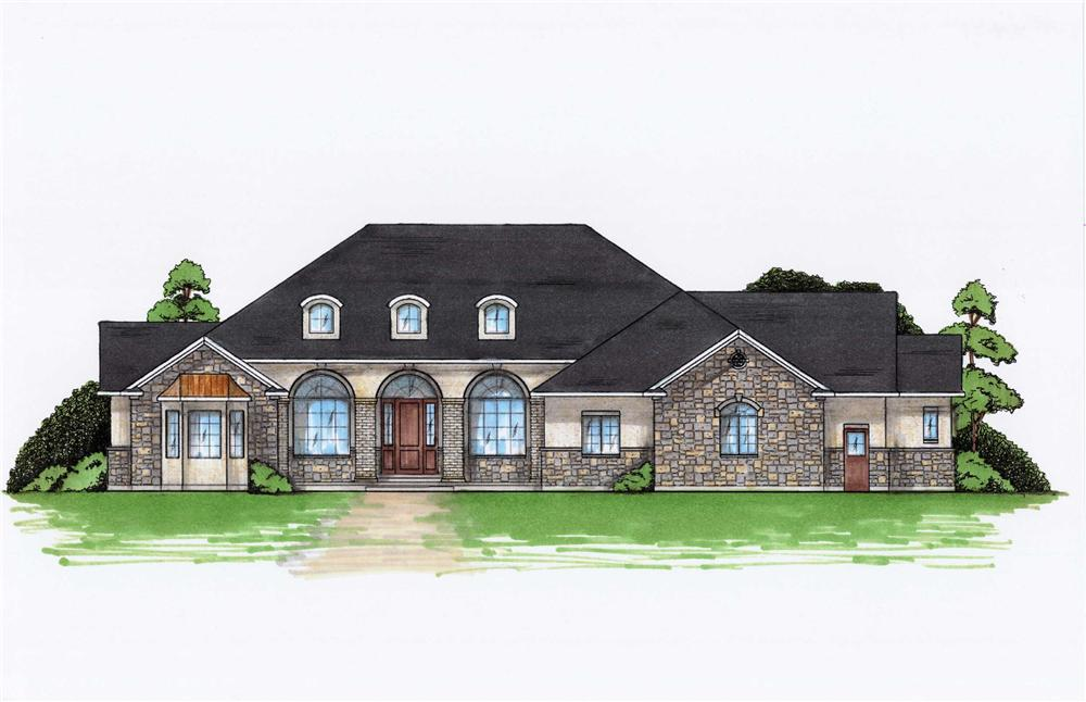 Color rendering of European home plan (ThePlanCollection: House Plan #135-1002)