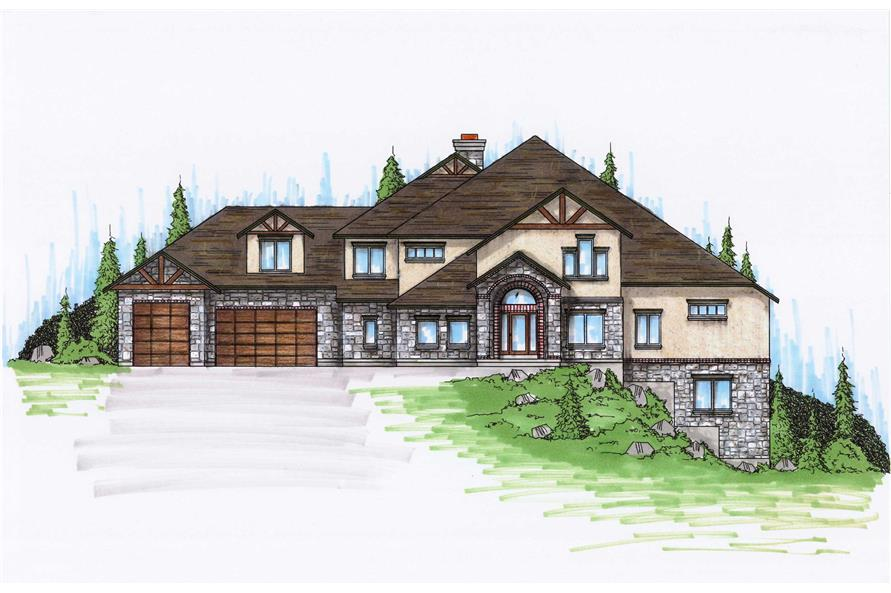 7-Bedroom, 4537 Sq Ft Luxury House Plan - 135-1004 - Front Exterior