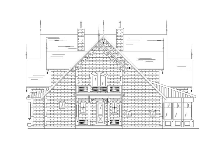 Home Plan Rear Elevation of this 5-Bedroom,4811 Sq Ft Plan -135-1008