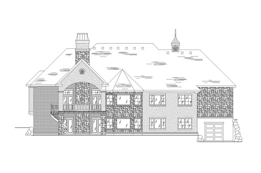 Home Plan Rear Elevation of this 6-Bedroom,2360 Sq Ft Plan -135-1013