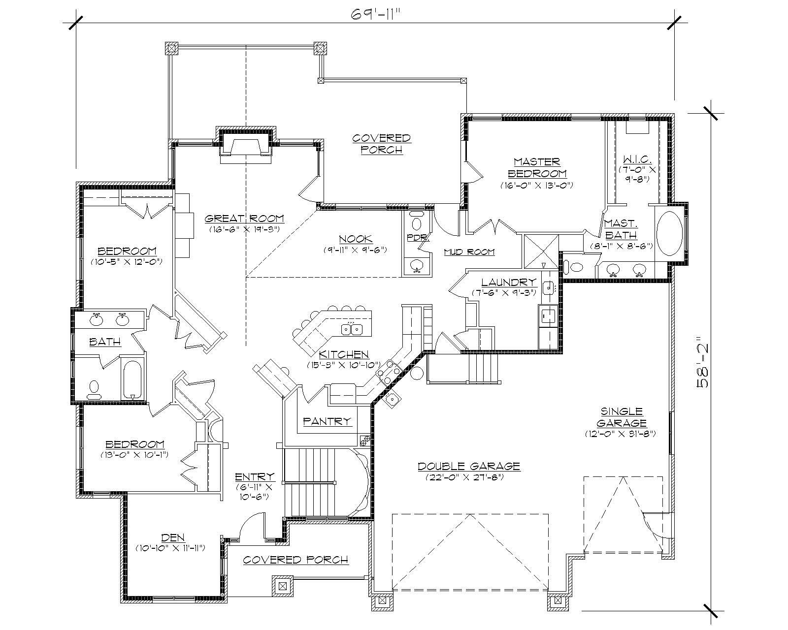 Craftsman House Plans Home Design Vh R2406