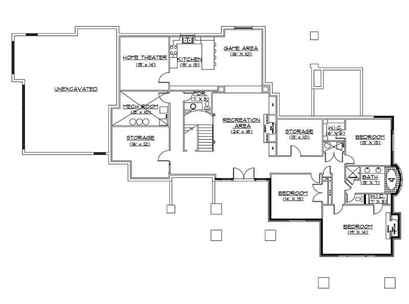 House Plan VH-R3102b Basement Floor Plan