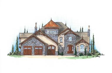 4-Bedroom, 4123 Sq Ft European House Plan - 135-1021 - Front Exterior