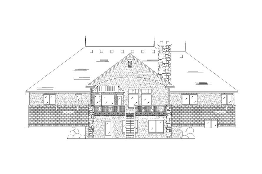 Home Plan Rear Elevation of this 6-Bedroom,2785 Sq Ft Plan -135-1022