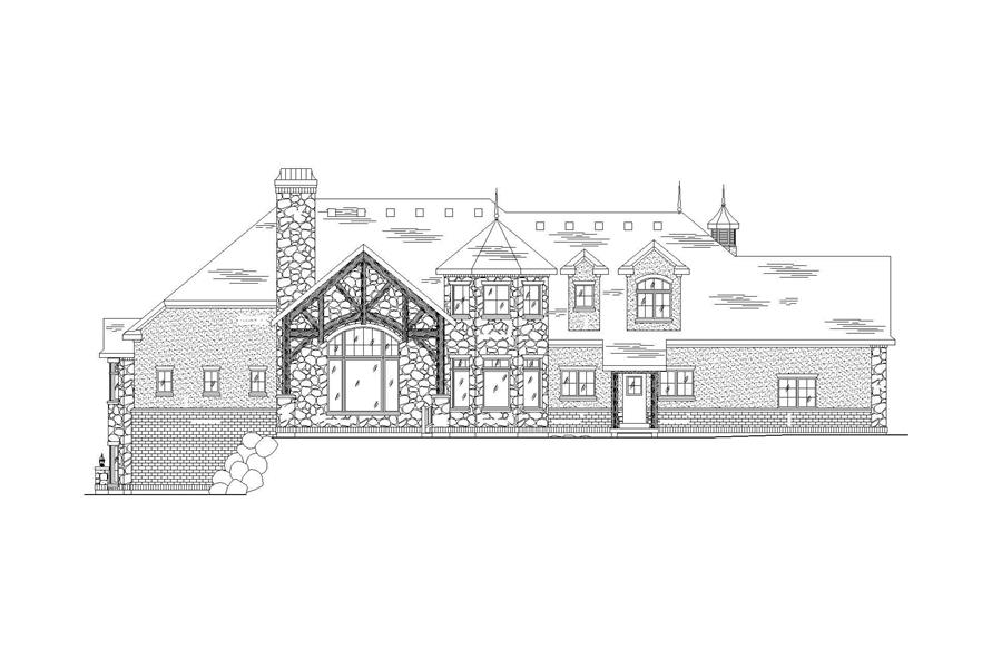Home Plan Rear Elevation of this 5-Bedroom,3994 Sq Ft Plan -135-1023
