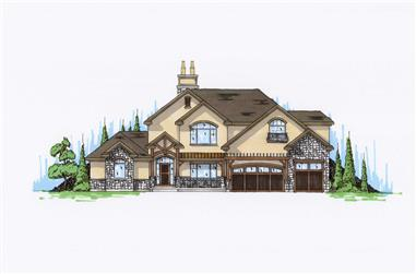 4-Bedroom, 3514 Sq Ft Country House Plan - 135-1025 - Front Exterior