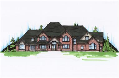 7-Bedroom, 6785 Sq Ft Farmhouse Home Plan - 135-1028 - Main Exterior