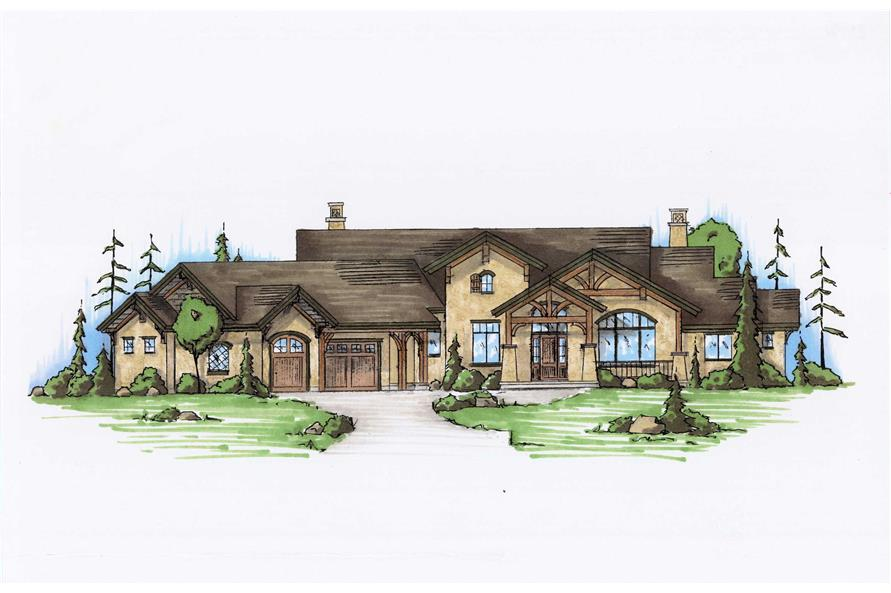 4-Bedroom, 3590 Sq Ft Country House Plan - 135-1029 - Front Exterior