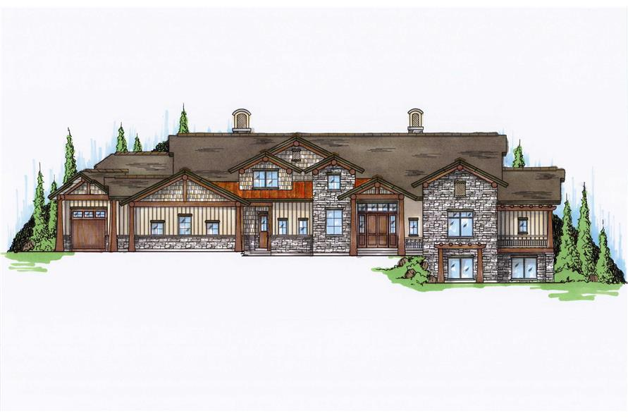 Front elevation of luxury Craftsman home (ThePlanCollection: House Plan #135-1036)