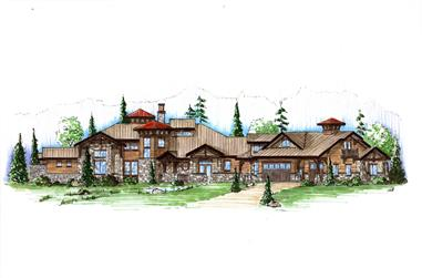 6-Bedroom, 5683 Sq Ft Country Home Plan - 135-1037 - Main Exterior