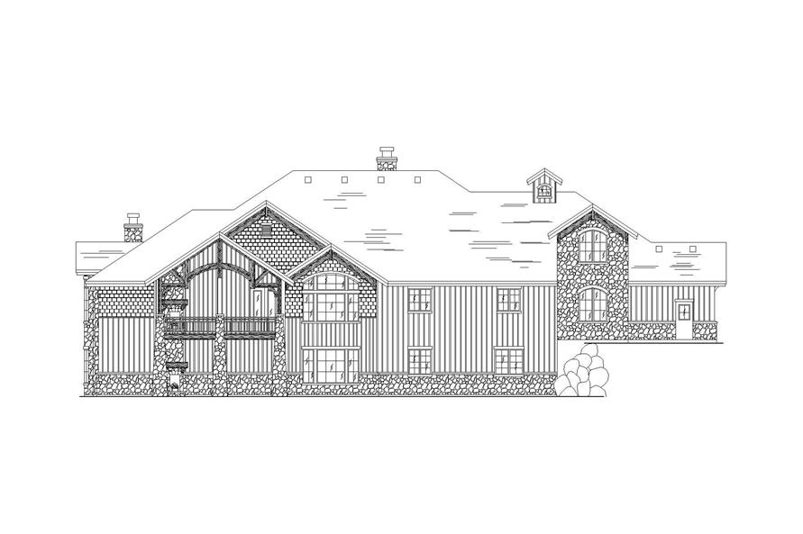 Home Plan Rear Elevation of this 5-Bedroom,3761 Sq Ft Plan -135-1038