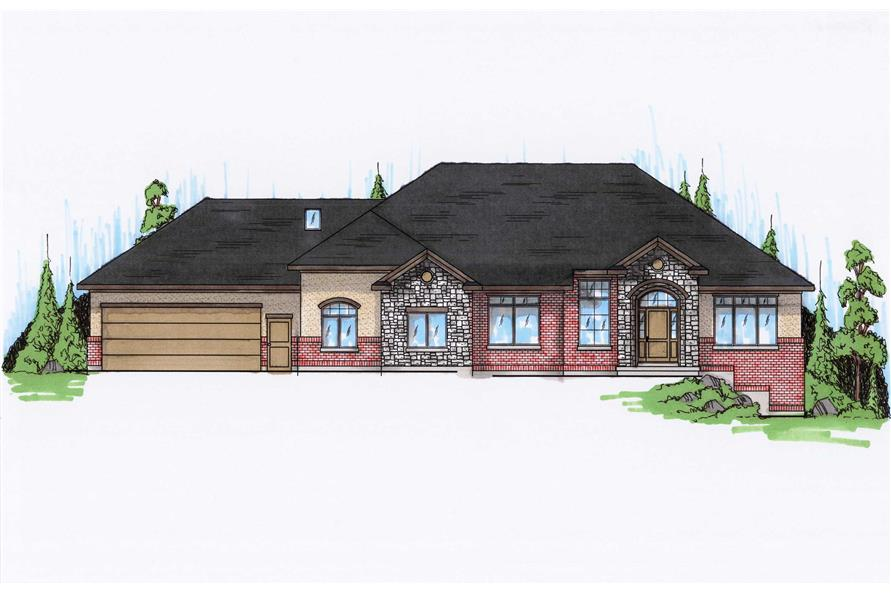3-Bedroom, 2591 Sq Ft Ranch House Plan - 135-1044 - Front Exterior