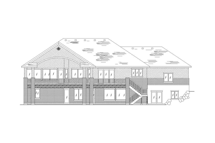 Home Plan Rear Elevation of this 3-Bedroom,2591 Sq Ft Plan -135-1044